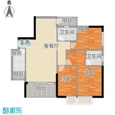 罗浮山岭南雅苑115.73㎡1号楼2单位03户型3室2厅2卫1厨