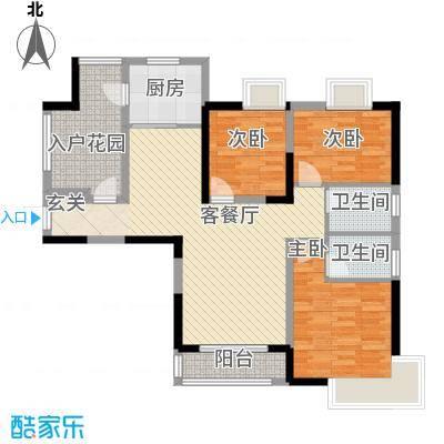翰林苑3-2-2-1-4户型3室2厅2卫1厨
