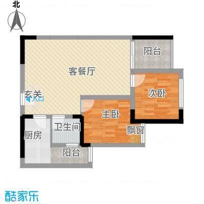 侨鑫公寓15户型2室2厅1卫1厨