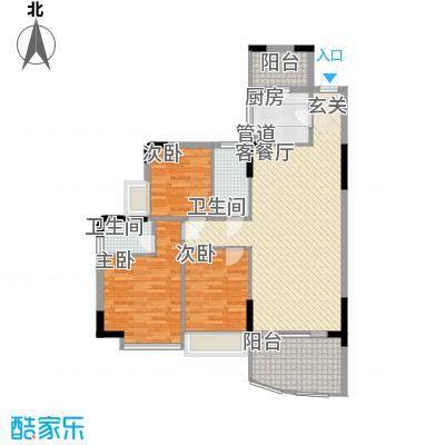 森邻美域115.40㎡1、3号楼01户型3室2厅2卫1厨