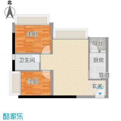 汇峰国际公寓76.60㎡A座07单元户型1厅
