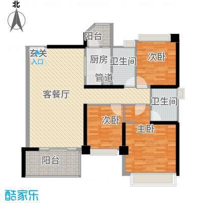 汇峰国际公寓133.58㎡D座01单元户型2厅
