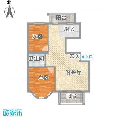 水色时光花园15.00㎡A5户型2室2厅1卫1厨