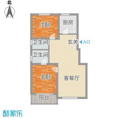 水色时光花园12.00㎡四区D1户型2室2厅2卫1厨