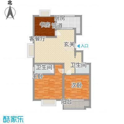 普利利源花园127.00㎡E户型3室2厅2卫