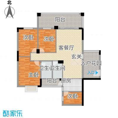 江南豪苑132.14㎡二期B栋01户型4室2厅2卫