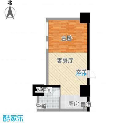 如意商务公寓55.30㎡J户型1室1厅1卫1厨