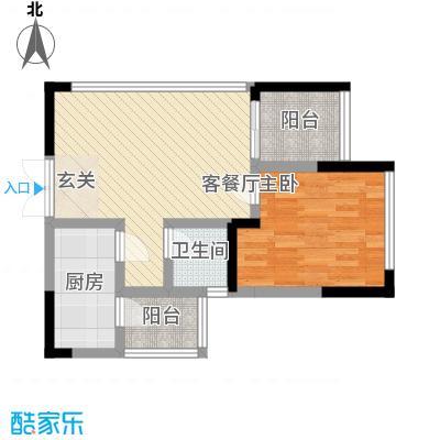 融汇温泉城锦华里52.00㎡一期2、3号楼SA标准层户型2室1厅1卫1厨