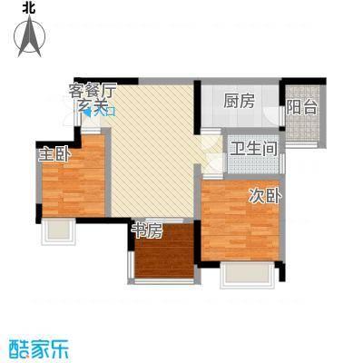 融汇温泉城锦华里62.10㎡一期4号楼标准层A户型2室2厅1卫1厨