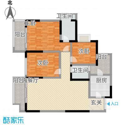 融汇温泉城锦华里7.35㎡一期4号楼标准层F户型3室2厅1卫1厨