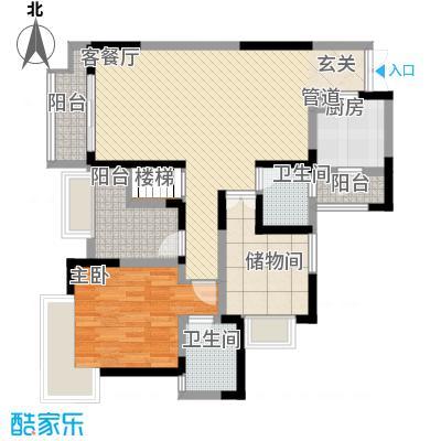 融汇温泉城锦华里3.00㎡一期2号楼E标准层户型3室2厅2卫1厨