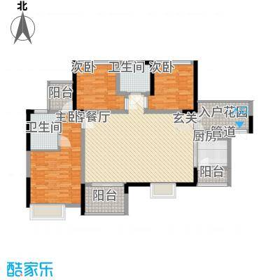 汇龙湾花园14.00㎡2号楼A户型3室2厅2卫1厨