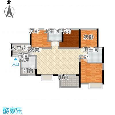 汇龙湾花园117.00㎡1号楼B户型4室2厅2卫1厨