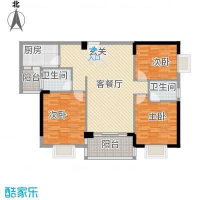 江南豪苑122.86㎡F栋06单位户型3室2厅