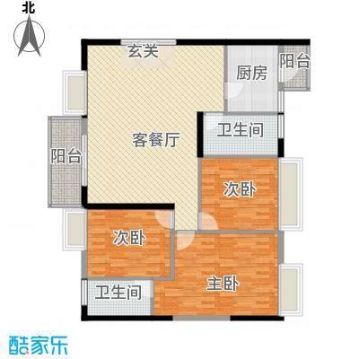 罗浮山岭南雅苑136.57㎡2号楼2单元01户型3室2厅2卫1厨