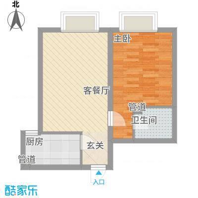 天奇渝中世纪46.68㎡B2型户型1室1厅1卫1厨