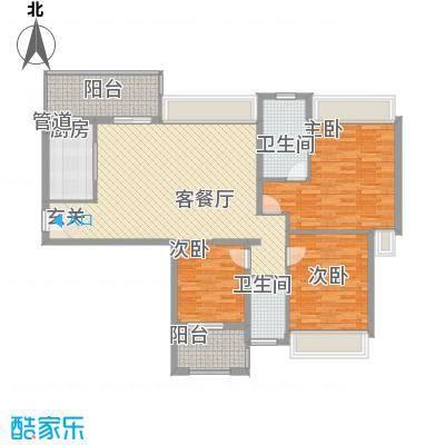 裕景新城户型3室2厅2卫1厨