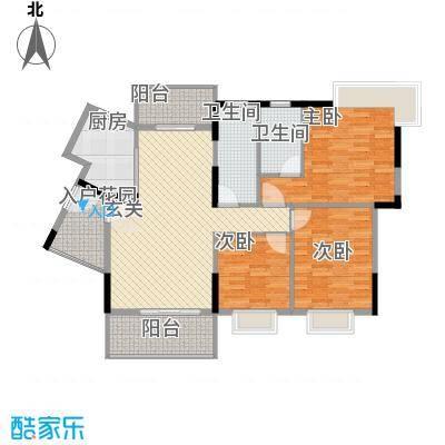 丰泽园126.77㎡标准层C2户型3室2厅2卫1厨