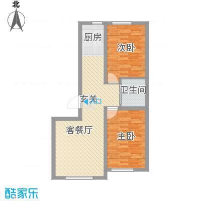 润德岭尚经典8.51㎡2#楼G户型2室2厅1卫1厨
