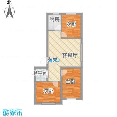 润德岭尚经典82.70㎡1#楼F户型3室2厅1卫1厨