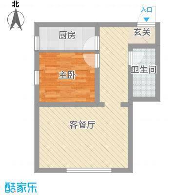 润德岭尚经典61.70㎡2#楼J户型1室1厅1卫1厨