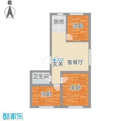 润德岭尚经典83.17㎡2#3#楼E户型3室2厅1卫1厨