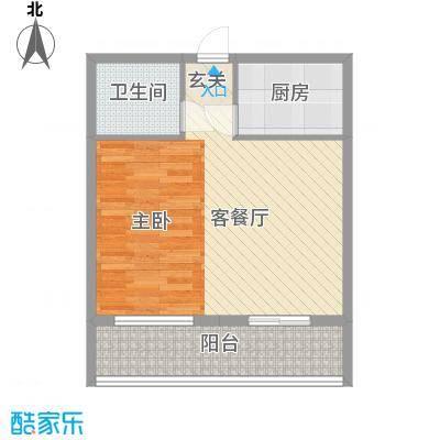 冠宇花园65.00㎡户型1室2厅