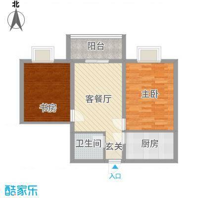 冠宇花园78.00㎡户型2室1厅1卫1厨
