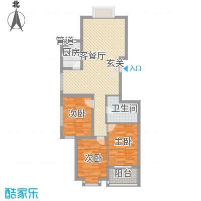 凤凰城115.00㎡A户型3室2厅1卫