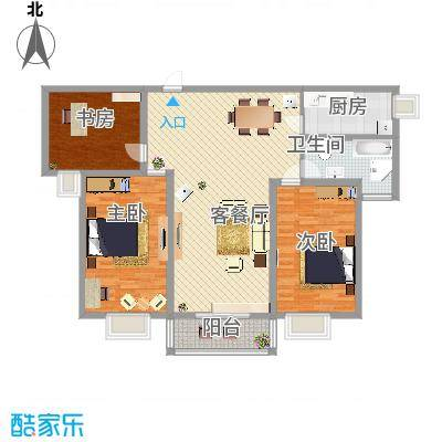 万宁城市景苑125.00㎡5#、9#、13#边户E户型3室2厅1卫1厨-副本