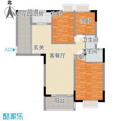 东润华庭户型3室2厅2卫1厨