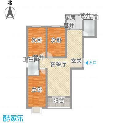 香水湾12.00㎡A户型3室2厅2卫1厨