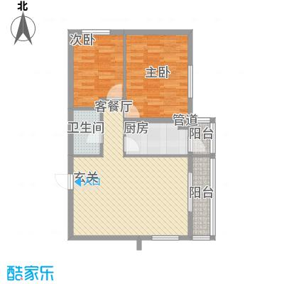 龙昌滨河源2D户型2室2厅1卫1厨