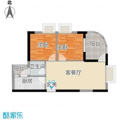 中天彩虹城71.40㎡C4户型2室2厅1卫1厨