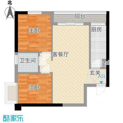 时代YOHO53.10㎡1-9型户型2室1厅1卫1厨