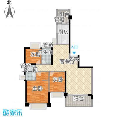 汇峰国际公寓147.87㎡B座02单元户型2厅