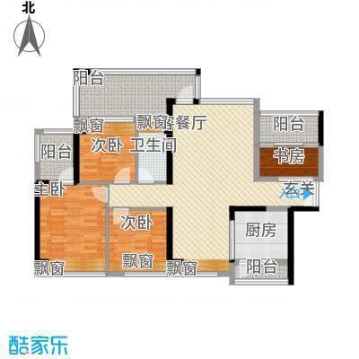 太东・棕榈泉117.00㎡1栋012-28偶数层户型4室2厅1卫1厨