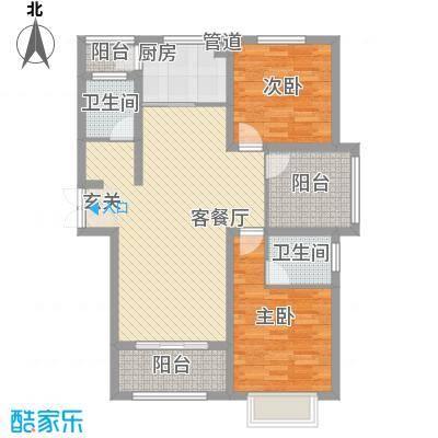 翰林华府114.14㎡8A-4户型3室2厅2卫1厨