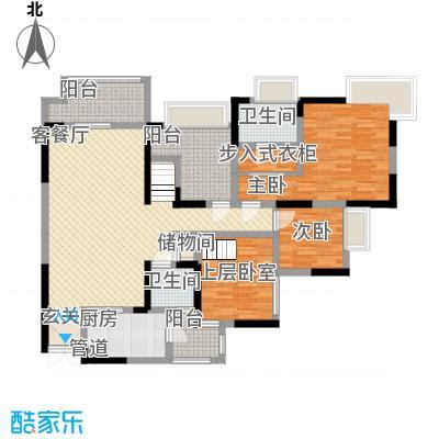 融汇温泉城锦华里116.00㎡一期2号楼H标准层户型4室2厅2卫1厨