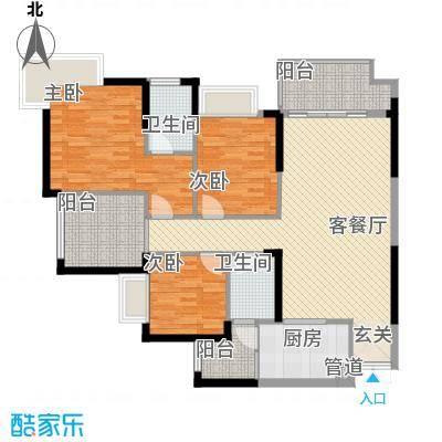 融汇温泉城锦华里一期2、3号楼G标准层户型4室2厅2卫1厨