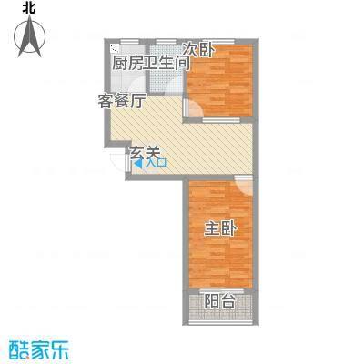 雅龙商住楼67.81㎡一期高层C户型2室2厅1卫1厨