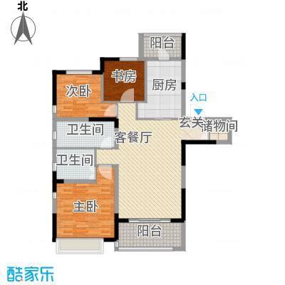 吴月雅境123.30㎡F户型3室2厅2卫1厨