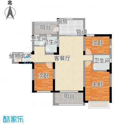 吴月雅境137.12㎡H户型3室2厅2卫1厨
