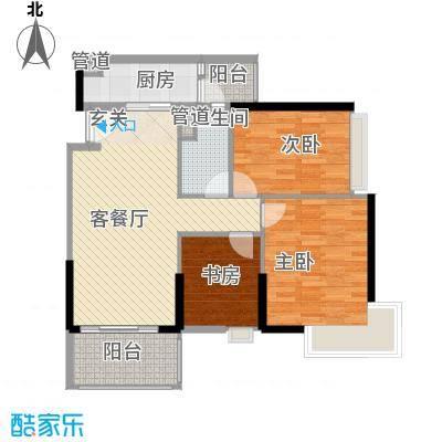 保利中辰广场B2栋01单元户型3室2厅1卫1厨