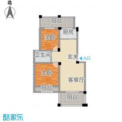 小城故事禹洲新城一期173户型2室2厅1卫1厨