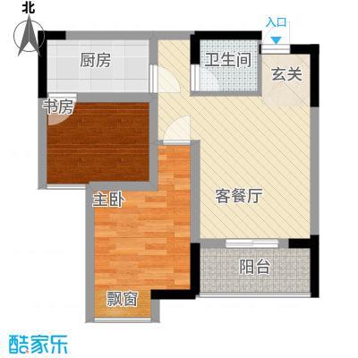 永缘寓乐圈42.86㎡一期电梯小高层1号楼标准层H户型1室1厅1卫1厨
