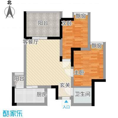 永缘寓乐圈55.73㎡一期电梯小高层10号楼标准层D户型2室2厅1卫1厨