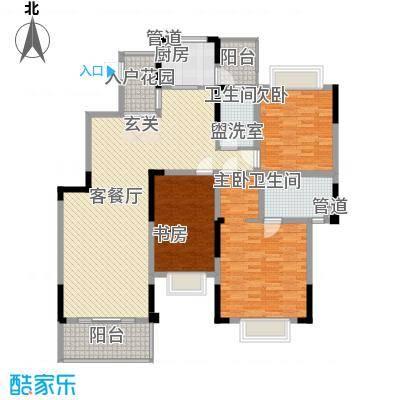 莱菌花苑3-2-2-1-3户型3室2厅2卫1厨