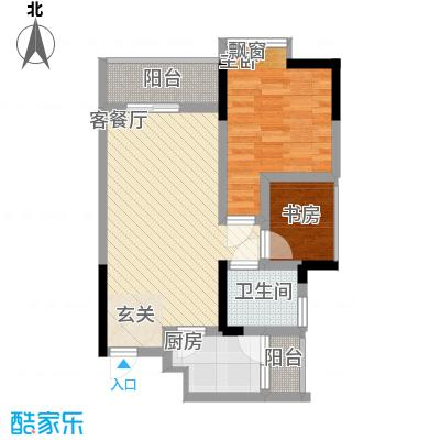 永缘寓乐圈47.43㎡三期3/4号楼标准层C户型1室2厅1卫1厨