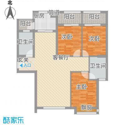 王子广场115.25㎡1#楼B塔楼标准层1号梯012-3号梯03户型3室2厅2卫1厨